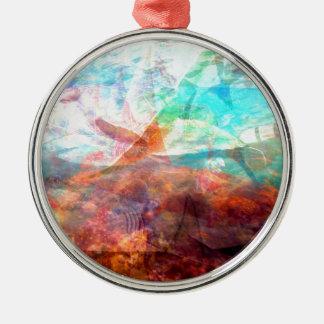 Schöne inspirierende Unterwasserszenen-Kunst Rundes Silberfarbenes Ornament