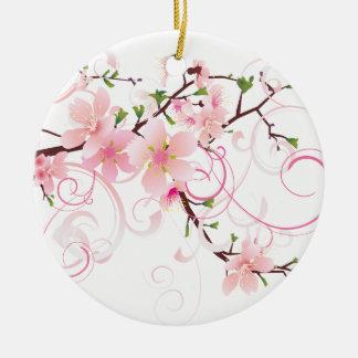 Schöne Kirschblüten Rundes Keramik Ornament