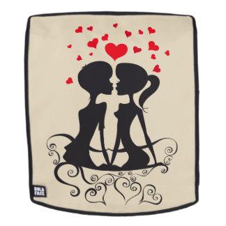Schöne Liebe-Herz-Kussstrudelkunst Rucksack
