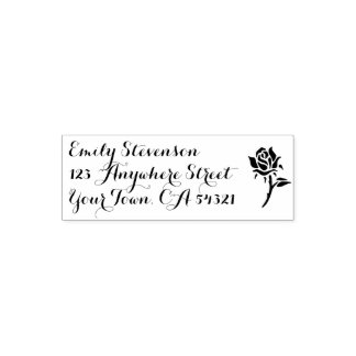 Schöne Name-Rücksendeadresse-Rose Permastempel