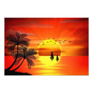 schöne orange Sonnenuntergangkunst Kunst Photo