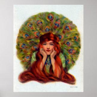 Schöne Pfau-Frauen-Vintages Plakat