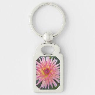 Schöne rosa Dahlie-Blume Schlüsselanhänger