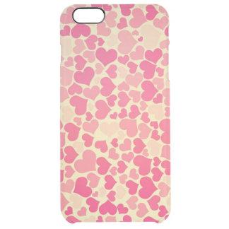 schöne rosa gelbe Herzvektorkunst Durchsichtige iPhone 6 Plus Hülle