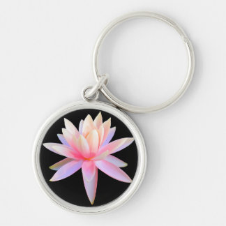 Schöne rosa Lotos-Kunst-cooles Trendy Silberfarbener Runder Schlüsselanhänger