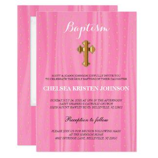 Schöne rosa u. weiße Satin-Taufe/Taufe 12,7 X 17,8 Cm Einladungskarte