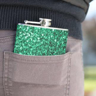 Schöne Smaragdgrün-Glitter-Glitzern Flachmann