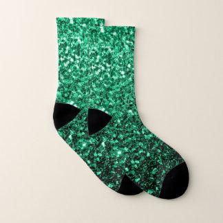 Schöne Smaragdgrün-Glitter-Glitzern Socken