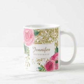 Schöne Wasserfarbe-Rosen mit der GoldGlitter-Tasse Kaffeetasse