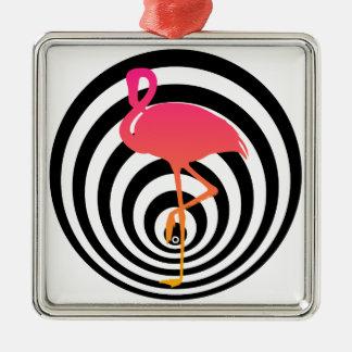 Schöner Flamingo in den Kreisen Quadratisches Silberfarbenes Ornament