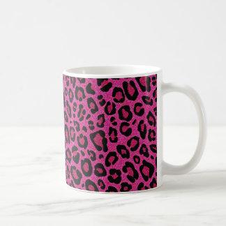 Schöner Leopardhaut-Glitter Shine des heißen Rosas Tasse