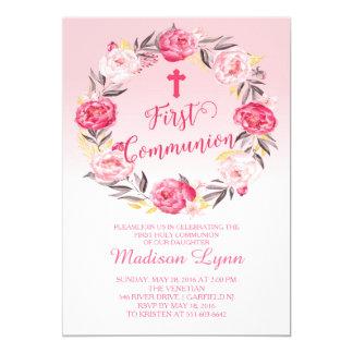 Schöner moderner BlumenKranz-erste Kommunion 12,7 X 17,8 Cm Einladungskarte