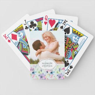 Schöner PastellblumenWatercolor - Hochzeits-Foto Poker Karten