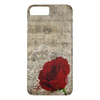 Schöner Rosen-Musiknotenstrudel verblaßte Klavier iPhone 8 Plus/7 Plus Hülle