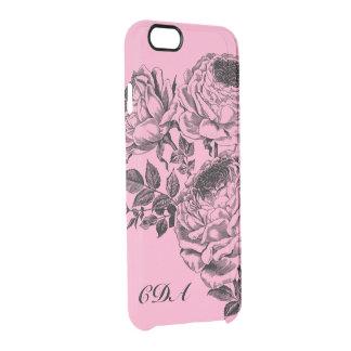 Schöner schwarzer Rosen-Monogramm-offenbar Durchsichtige iPhone 6/6S Hülle