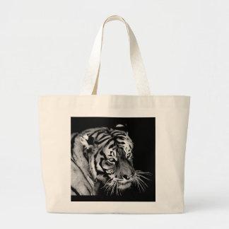 Schöner Tiger Schwarz-weißes Afrika Jumbo Stoffbeutel
