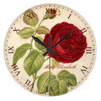 Schöner Vintager Rosen-Druck-römische Ziffern Uhren