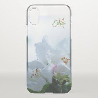 Schöner weißer Rosen-Monogramm iPhone X Kasten