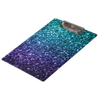 Schönes Aqua blaue Ombre Glitter-Glitzern Klemmbrett