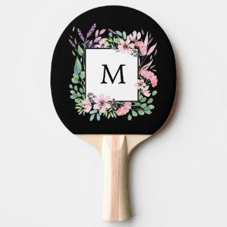 Schönes Aquarell mit Blumen auf Schwarzem mit Tischtennis Schläger