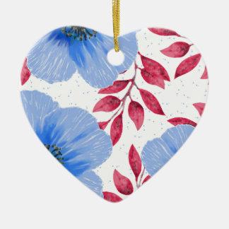 Schönes blaue Mohnblumen-Blumen-Muster Keramik Herz-Ornament