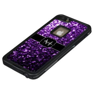 Schönes dunkles lila Glitter-Glitzern Monogramm LifeProof FRÄ' iPhone 6/6s Plus Hülle