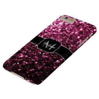 Schönes dunkles rosa Glitter-Glitzern Monogramm Barely There iPhone 6 Plus Hülle