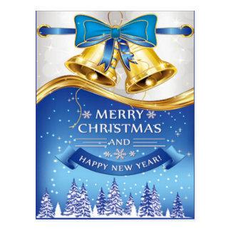 Schönes goldenes Weihnachten Bell mit blauem Bogen Postkarte
