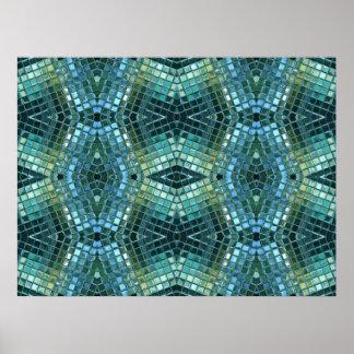 Schönes grünes und blaues Glasmosaik Poster