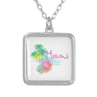 Schönes Miami Florida Halskette Mit Quadratischem Anhänger