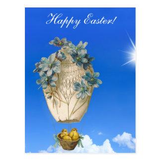 Schönes Ostern - Himmel, fliegende Küken und Postkarte