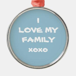 """Schönes Pulver-Blau """"ICH LIEBE MEIN FAMILIE xoxo """" Silbernes Ornament"""