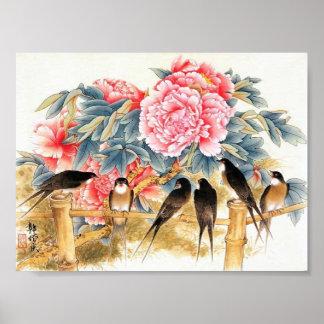 schönes rosa Blumenplakat Poster