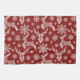Schönes rotes Weihnachtsmuster Handtücher