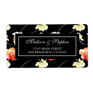Schönes schwarzes Blumen - Hochzeit Großer Adressaufkleber