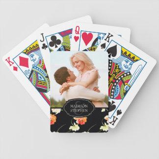 Schönes schwarzes Blumen - Hochzeits-Foto Poker Karten