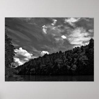 Schönes Schwarzweiss-Wolken-Natur-Himmel-Foto Poster