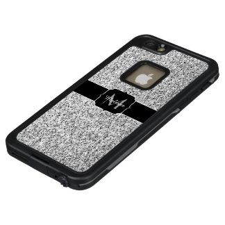 Schönes silbernes Glitter-Glitzern Monogramm LifeProof FRÄ' iPhone 6/6s Plus Hülle