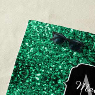 Schönes Smaragdgrün-Glitter-Glitzern Monogramm Strandtuch