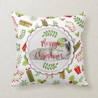 Schönes Weihnachtsskript-Geschenk-Foto Kissen