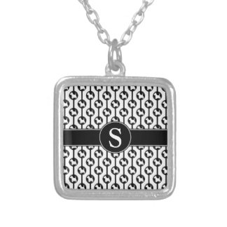 Schottische Terrier-HundePunkt-Monogramm-Initiale Versilberte Kette
