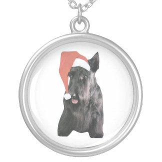 Schottische Terrier-Weihnachtsmannmütze Versilberte Kette