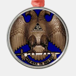 Schottischer Ritus 32 Grad-Königsblau Rundes Silberfarbenes Ornament