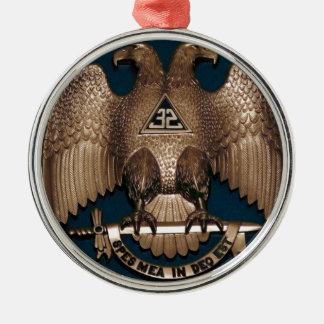 Schottischer Ritus-aquamariner 32 Grad Rundes Silberfarbenes Ornament