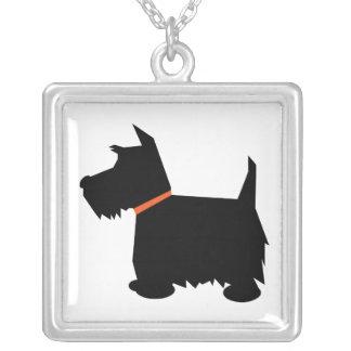 Schottischer TerrierhundeSilhouetteanhänger, Versilberte Kette
