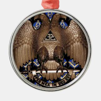 Schottisches Ritus-Quadrat u. Kompass-Schwarzes Rundes Silberfarbenes Ornament