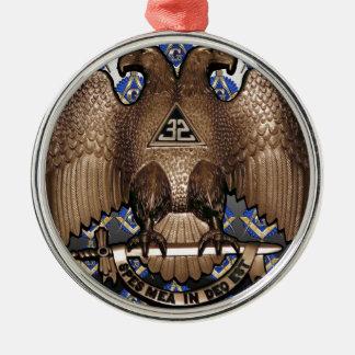 Schottisches Ritus-Quadrat u. Kompass-Schwarzes u. Rundes Silberfarbenes Ornament