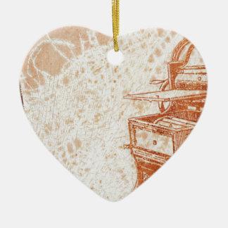 Schreibmaschine Keramik Herz-Ornament