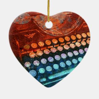 Schreibmaschinen-blaues Rot PopArt Keramik Herz-Ornament