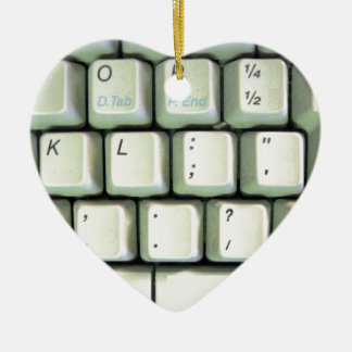 Schreibmaschinen-Tastatur Keramik Herz-Ornament